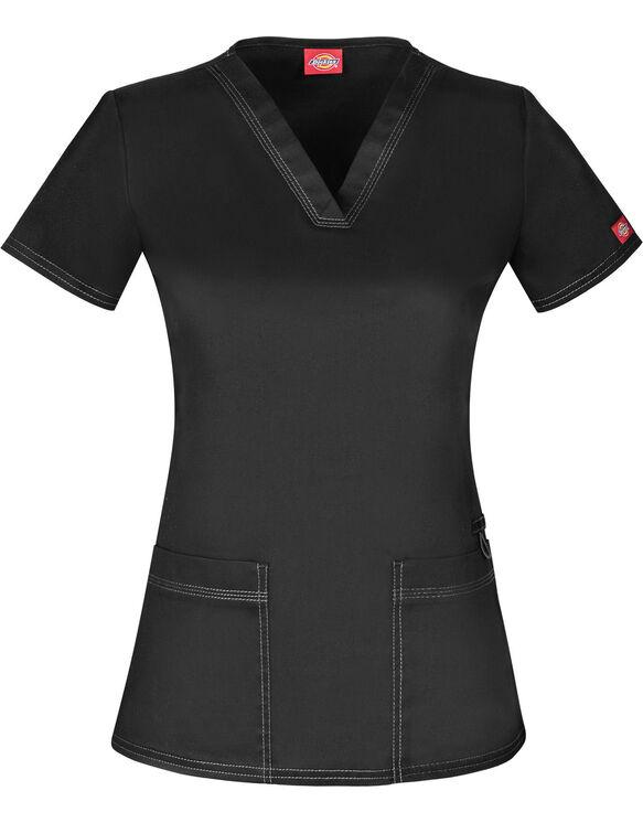 Women's Gen Flex V-Neck Scrub Top - BLACK-LICENSEE (BLK)