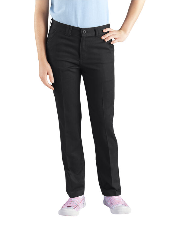 Girls' Skinny Fit Straight Leg Stretch Twill Pant, 7-20 - BLACK (BK)
