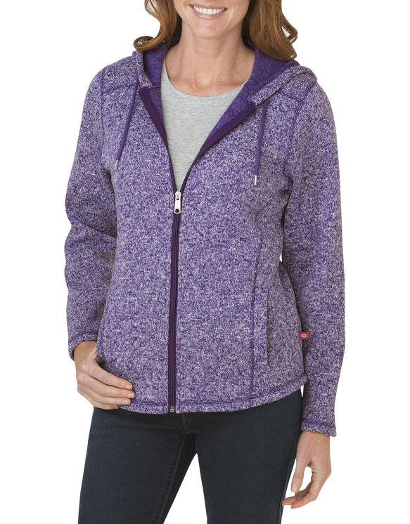 Women's Sweater Hooded Jacket - PETUNIA/WHITE HEATHER (UNWH)