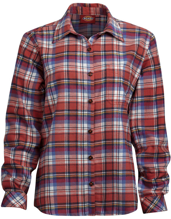 Women's Long Sleeve Plaid Flannel Shirt (Plus) - CORAL REEF DARK DENIM FRENCH B (CFP)