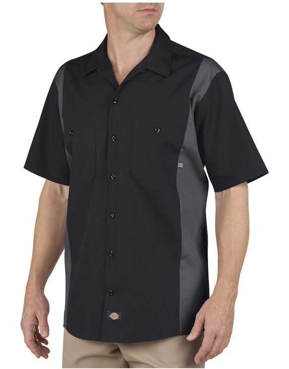 Industrial Color Block Short Sleeve Shirt - BLACK/CHARCOAL (BKCH)
