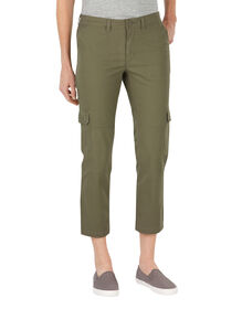Women's Slim Fit Ripstop Cargo Capri - RINSED BURNT OLIVE (RUO)