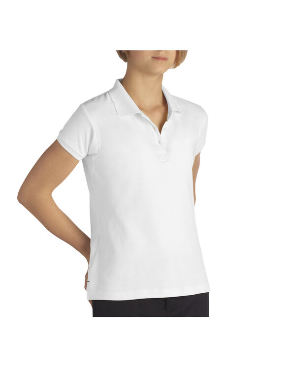 Girls' Short Sleeve Interlock Polo Shirt - WHITE (WH)