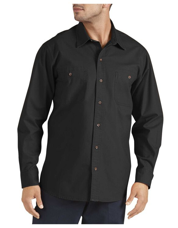 Long Sleeve Cotton Canvas Shirt - RINSED BLACK (RBK)