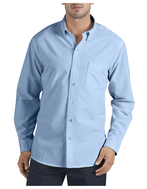 Long sleeve button down oxford shirt mens shirts dickies for Oxford long sleeve button down shirt