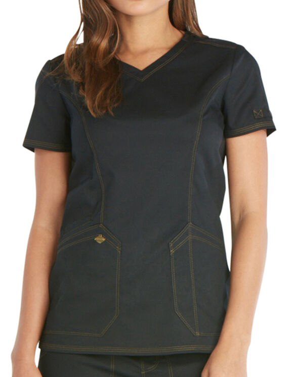 Women's Essence V-Neck Scrub Top - BLACK (BLK)