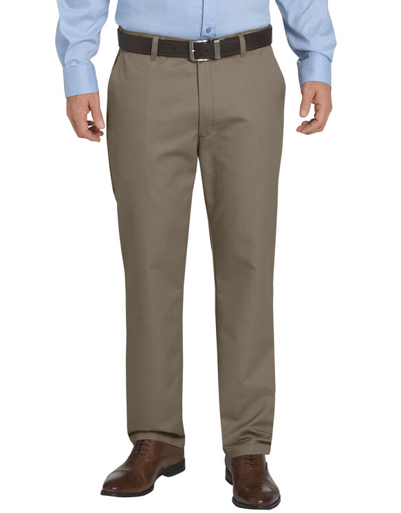 Dickies KHAKI Regular Fit Tapered Leg Flat Front Sorona® Flex Pant - RINSED PEBBLE BROWN (RNP)