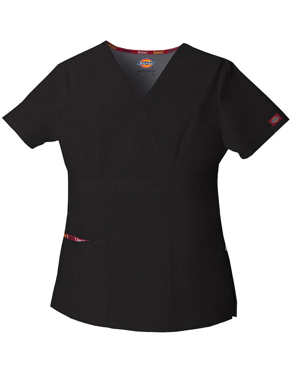 Women's EDS Signature Mock Wrap Scrub Top - BLACK-LICENSEE (BLK)