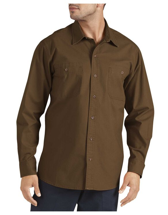 Long Sleeve Cotton Canvas Shirt - RINSED TIMBER (RTB)