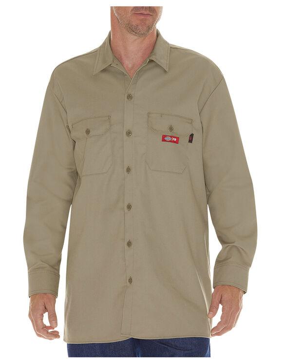 Flame-Resistant Long Sleeve Twill Shirt - KHAKI (KH)