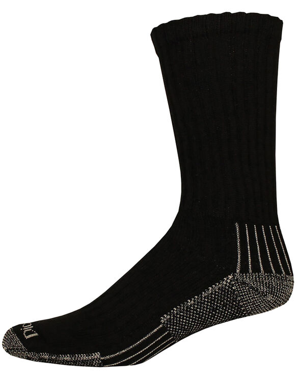 Industrial Heavyweight Cushion Work Crew Socks, 3-Pack, Size 13-15 - BLACK (BK)