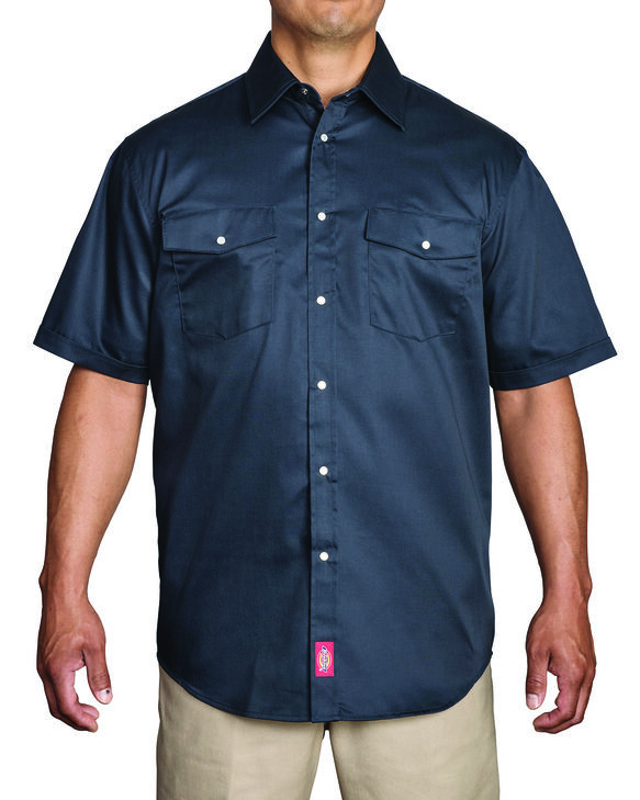 short sleeve snap front work shirt dickies