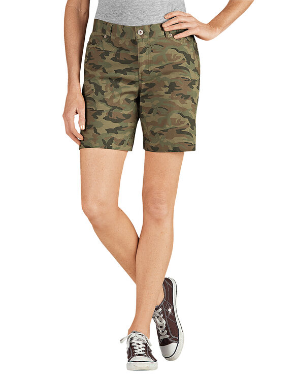 "Women's 7"" Relaxed Fit Stretch Canvas Short - RINSED BUTTERFLY CAMO (RBGC)"