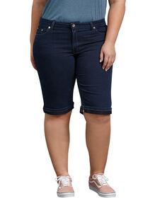 "Womens' Slim Fit 13"" Stretch Denim 5-Pocket Short (Plus) - DARK STONE WASH (DSW)"