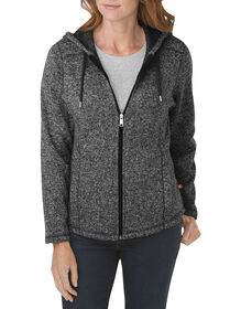 Women's Sweater Hooded Jacket - BLACK/WHITE (BKWH)