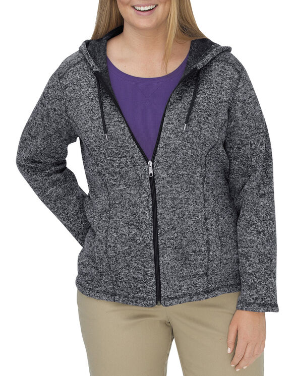 Women's Sweater Hooded Jacket (Plus) - BLACK/WHITE (BKWH)