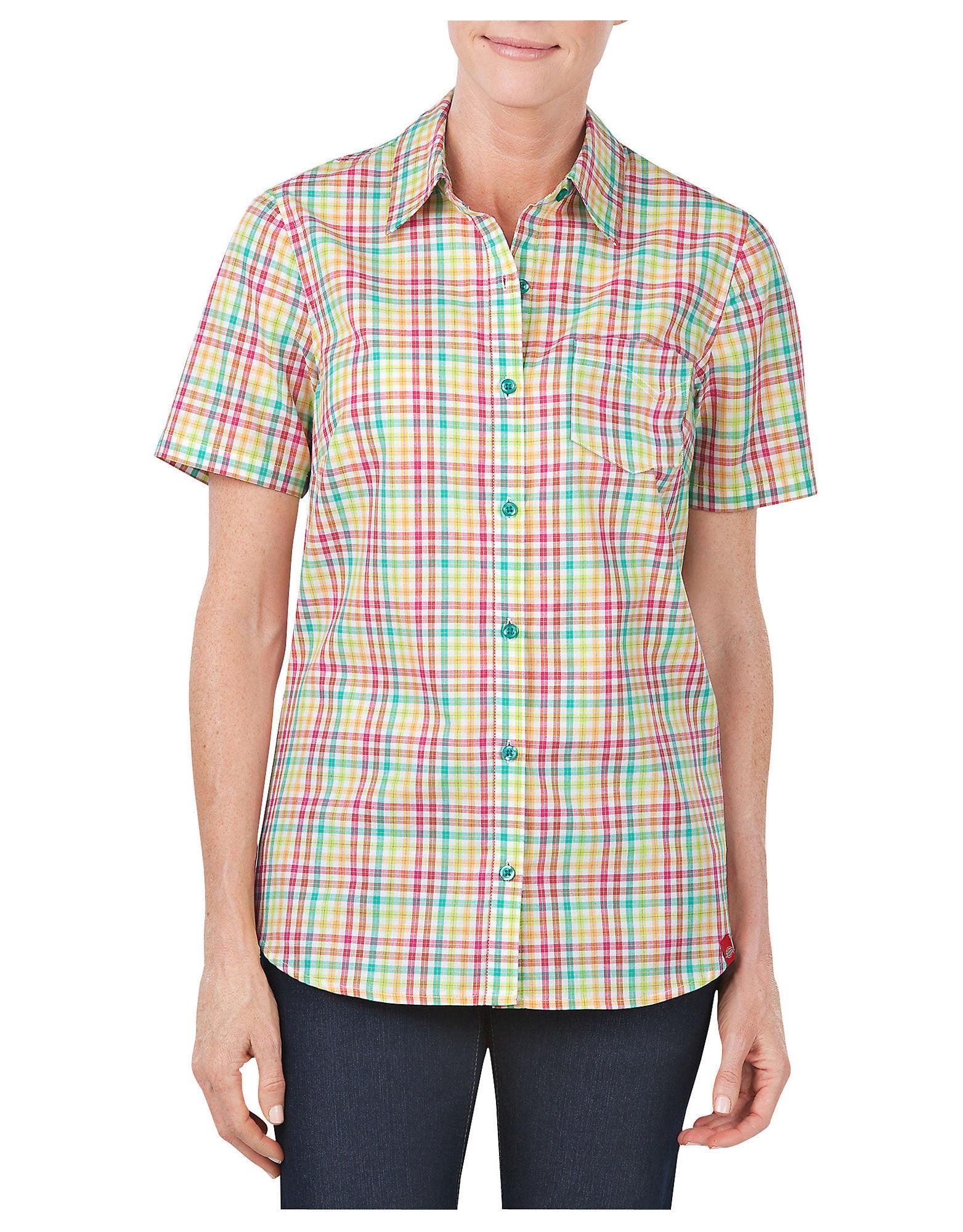 Women 39 s short sleeve plaid shirt womens tops dickies for Dickies short sleeve plaid shirt