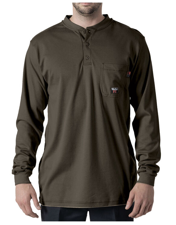 Walls® Flame Resistant Long Sleeve Henley - DARK GRAY (DGY9)