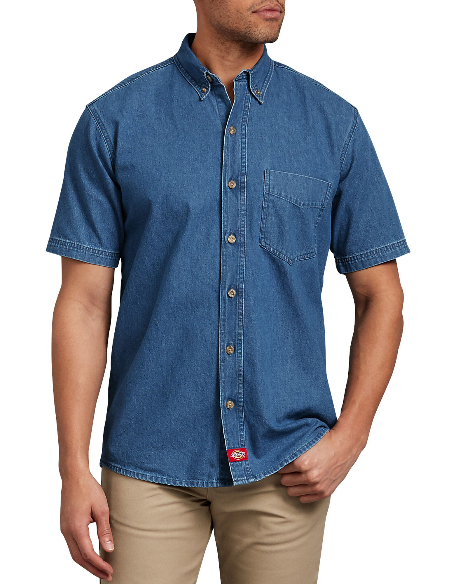 Short sleeve button down denim shirt mens shirts dickies for Short sleeved shirts for men