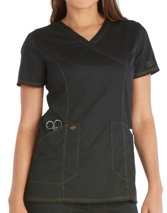 Women's Essence Mock Wrap Scrub Top - BLACK (BLK)