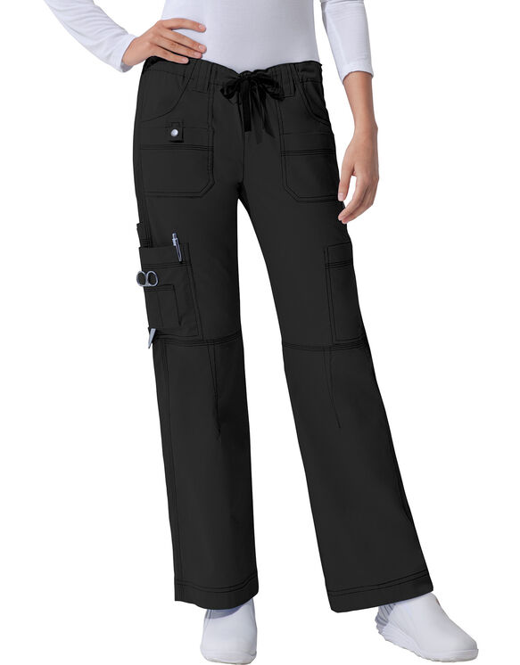 Women's Junior Fit Gen Flex Youtility Cargo Scrub Pant - BLACK-LICENSEE (BLK)