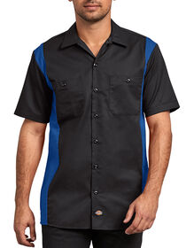 Two-Tone Short Sleeve Work Shirt - BLACK/ROYAL (BKRB)