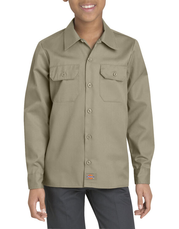 Boys' Twill Long Sleeve Shirt, 8-20 - KHAKI (KH)