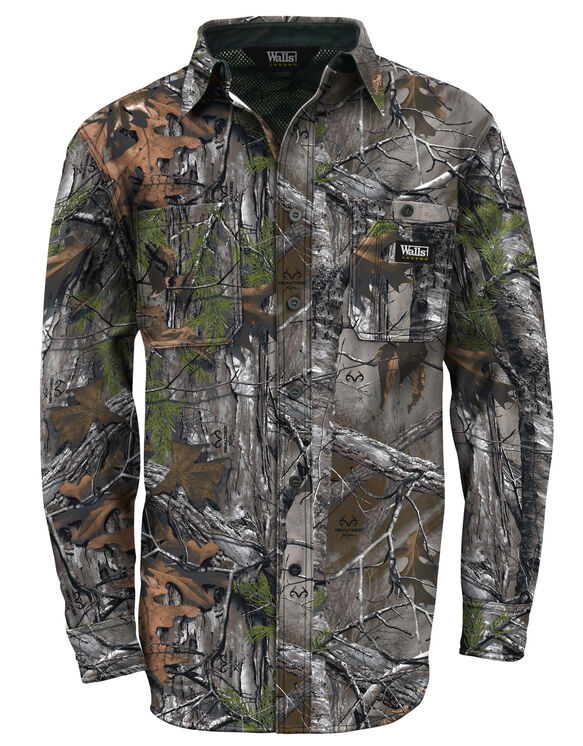 Walls® Hunting Cape Back Long Sleeve Shirt - REAL TREE XTRA (AX9)