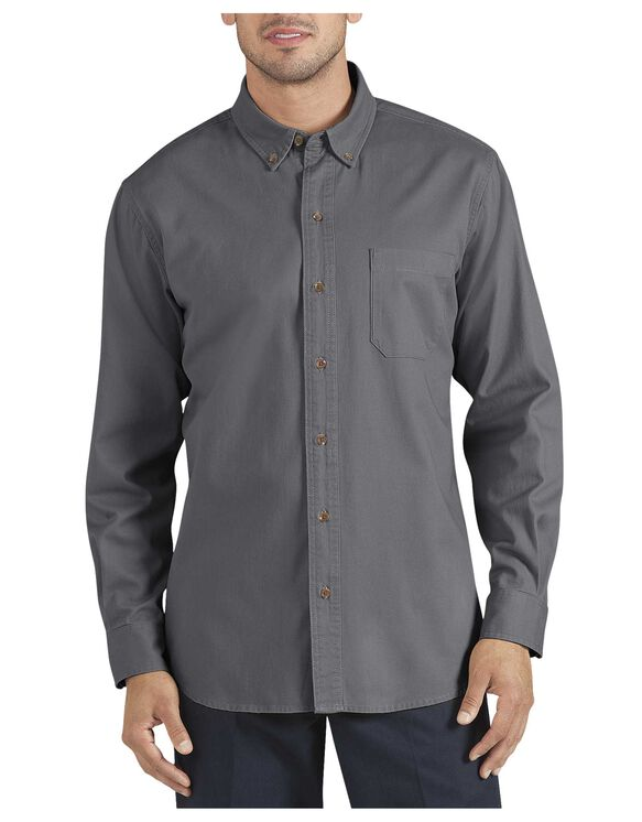 Long Sleeve Button-Down Twill Shirt - RINSED GRAPHITE (RGA)