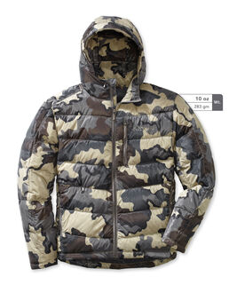 Grey Camo Hooded Down Hunting Jacket