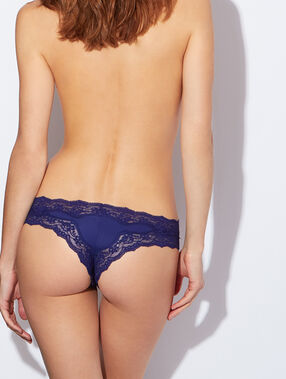 Lace and micro brief blue.