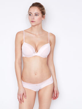Micro padded demi cup bra, d cup pink.