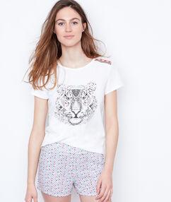 T-shirt imprime blanc.