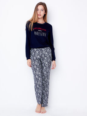 Printed pyjama pants navy blue.