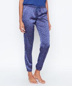 Printed satine pyjama pants blue.