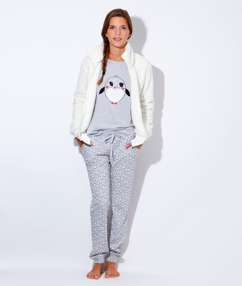 Pyjama 3 pieces, veste polaire, pantalon pingouins