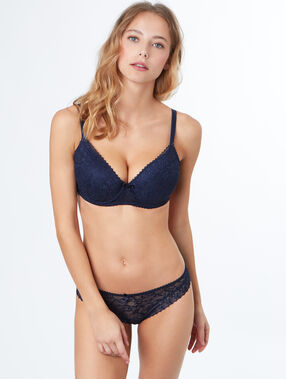 Padded demi cup bra, d&e cups navy blue.