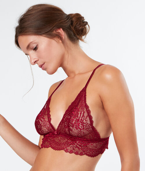 Lace wireless triangle bra;${refinementColor}