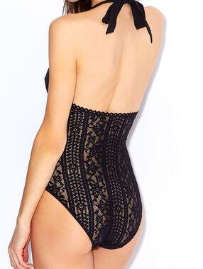 Body dentelle texturée, dos nu noir.