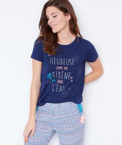 T-shirt imprimé sirène bleu.