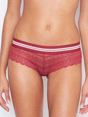 Shorty dentelle, détail bande élastique coloré brique roux.