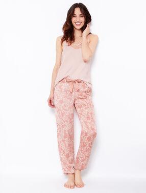 Pantalon imprimé fleuri rose.