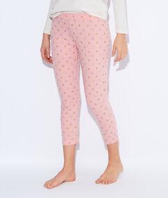 Spodnie z nadrukiem detal połyskujący rose poudre.