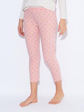 Pantalon imprimé détail glitter rose poudre.