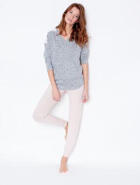 Camiseta manga larga detalles de guipur c. gris.