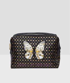 Neceser estampado mariposas negro.