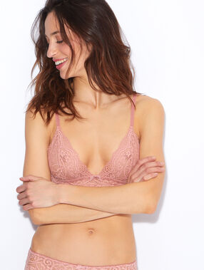 Wireless lace triangle bra pink.