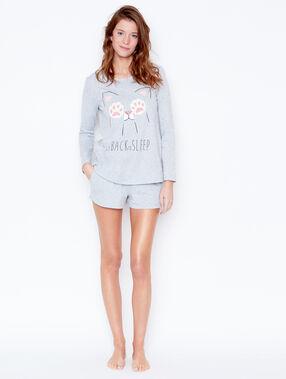 Cat printed pyjamashort grey.