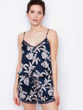 Satine printed overall blue.
