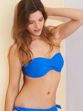 Haut de maillot de bain bandeau monocoque sans armatures, bretelles amovibles bleu royal.